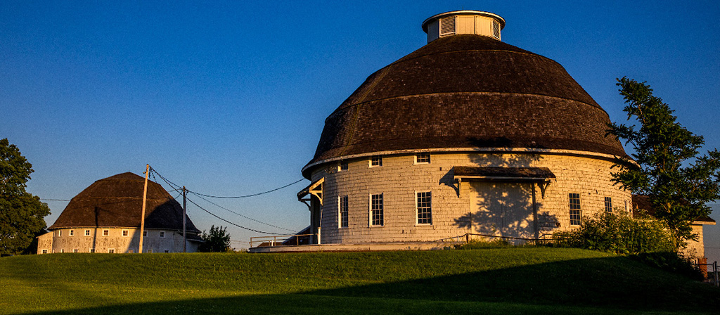 The Round Barns at the University of Illinois at sunset.